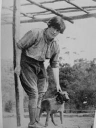 edna walling with dog