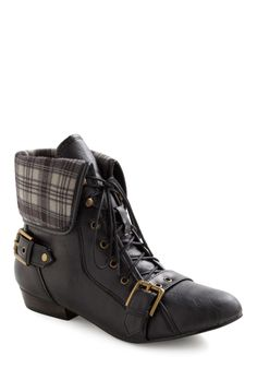 Crisscrossing Along Boot - Black, Multi, Solid, Plaid, Buckles, Flat, Lace Up, Vintage Inspired, Fall, Winter