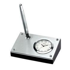 Bulova Metro Desk Clock w/ Single Pen Holder
