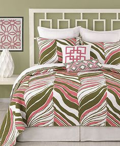 Trina Turk Bedding, Tiger Leaf Printed Coverlet Collection - Bedding Collections - Bed & Bath - Macy's