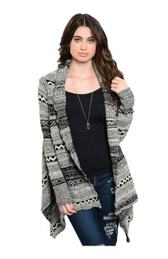 Draped Long Sleeve Tribal Print Cardigan