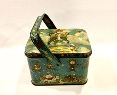 $125 Vintage item from the 1920s Materials: Vintage Kiddyland Advertising Candy Tin Pail, Nursery Rhymes, Mother Goose, ABCs, Thomas B Lamb, Small Lunch Box Style, Rare, Circa 1920s