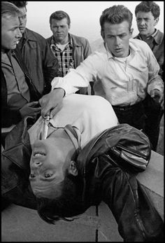 California. Hollywood. 1955. James Dean in the scene of the fight with knives of Rebel Without a Cause. © Dennis Stock / Magnum Photos