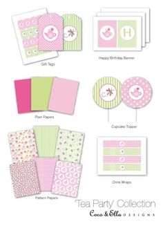 Tea Party printable birthday party collection