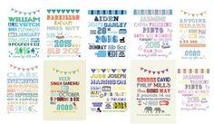 Bespoke Birth Poster Framed 14x11' by DollyOliveShop on Etsy
