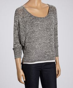 Look at this #zulilyfind! Magic Fit Heather Gray Marbled Dolman Top - Women by Magic Fit #zulilyfinds