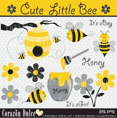 INSTANT DOWNLOAD Little Bee Digital Clip Art Set - Personal and Commercial Use Clip Art. $5.00, via Etsy.