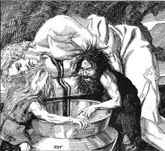 The Mead of Poetry. Kvasir, the wise, is assasinated by the dwarfs Fjalar and Galar., who mix his blood with honey and ferment it to mead. Later the giant Suttungr steals it from them, but in the end Odin manages to win it, using a really nasty trick to get access to it, which involves instigating an event in which slaves kill each other out of greed!
