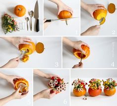 DIY: Herbstliche Tischdekoration mit Kürbis-Blumenvasen