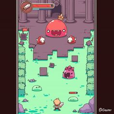 Game mockup -Slimeium! a game full of crazy types of bouncy slime monsters! #gamedev #indiedev #animation