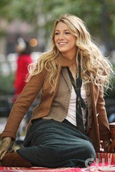 Layered fall look - Blake Lively - Gossip Girl