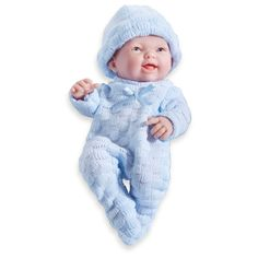 JC Toys Mini La Newborn Boutique Realistic 9.5 Anatomically Correct Real Boy Baby Doll Designed by Berenguer - Blue