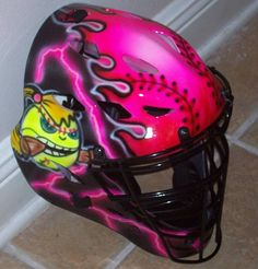 Fastpitch Softball Catchers Helmet, Airbrushed Rawlings CFA1 JP ADULT catchers mask new on Etsy, $154.95