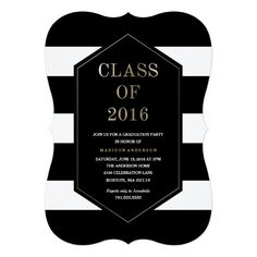 Shop Chic Stripes Graduation Invitation created by FINEandDANDY. Graduation Party Foods, Graduation Party Planning, Graduation Party Invitations, Graduation Gifts, Graduation Ideas, Graduation Open Houses, Graduation Announcements, Invitation Cards, Invites