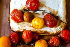 Baked Ricotta and Goat Cheese with Candied Tomatoes - ricotta, goat cheese, egg, herbs, olive oil, cherry tomatoes, vermouth, light brown sugar