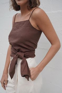 Our Linen Wrap top cuts an alluringly simple silhouette, with a high modest neckline and. Look Fashion, Fashion Outfits, Womens Fashion, Fashion Trends, Casual Outfits, Cute Outfits, Fall Outfits, Cosplay Costume, Inspiration Mode
