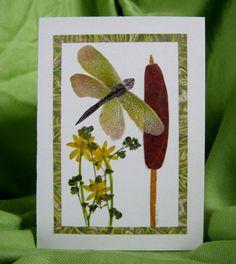 Dragonfly Greeting Card Real Pressed Flowers 5 by AntiquedFaerie
