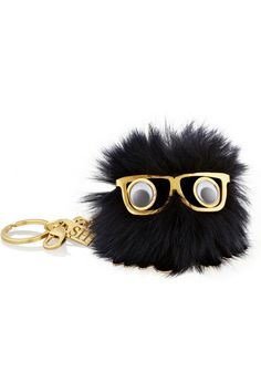 Black Cute Genuine Leather Rabbit fur pom pom keychain for car key ...