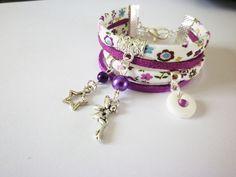 Manchette & Bracelet fin, bracelet fée fille violet enfant étoile fleurs est une création orginale de fimorelie sur DaWanda