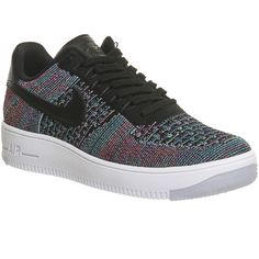Nike Air Force 1 Low Flyknit W ($185) ❤ liked on Polyvore featuring shoes, sneakers, black multi, hers trainers, trainers, black patent shoes, nike trainers, flyknit trainer, black trainers and black sneakers