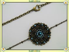 Headband vintage mariage pastel fleur perles de verre bleu noir bronze : Accessoires coiffure par lydeedeco