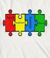April Autism Awareness Month - Design has four brightly colored puzzle pieces to support Autism Awarenss.