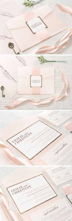 Blush Shimmer, Rose Gold Glitter, and Ivory Pocket Fold Wedding Invitation Suite with Satin Blush Ribbon | by Second City Stationery