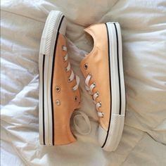 Converse Adorable peachy colored converse. Never been worn. In great condition! I also have the original box they came in. Converse Shoes Sneakers