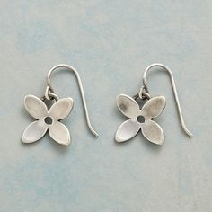 """DANICA EARRINGS--Brushed sterling silver blossoms find their influence in the uncomplicated lines of Scandinavian design. French wires. Handcrafted in USA. 1-1/2""""L."""