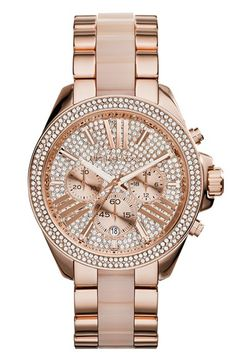 MICHAEL Michael Kors Michael Kors 'Wren' Pavé Chronograph Acetate Link Bracelet Watch, 42mm available at #Nordstrom
