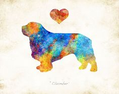 """CLUMBER SPANIEL Dog Breed Watercolor Art Print. *Choose your print size: 6""""x8"""", 8""""x10"""", 11""""x14"""", or 12""""x16"""" *Choose warm or bright color palette for your watercolor print. *Option to personalize by adding your dog's name. *Optional Dog Remembrance layout: """"Forever in our Hearts"""" with dog's name. *Option to mount print on Birchwood art board. Comes ready to hang or ready to gift, and includes hardware. *Signed Art Print from the original illustration of Artist Dan Morris. *Premium…"""