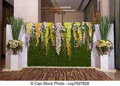 Stock Photo - flowers backdrop decorate for wedding ceremony - stock image, images, royalty free photo, stock photos, stock photograph, stock photographs, picture, pictures, graphic, graphics