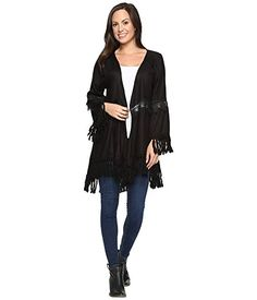 Don't let others ruin your mood, add a little fun to your wardrobe with this sassy top.Flowy silhouette offers an airy feel with an open-front design. Lightweight fabrication features lace across back and sleeves with hanging fringe at trim.Long bell sleeves.High-low hemline. #fashion #affiliate