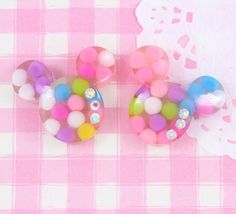 A pack of extra cute & very colourful Minnie Mouse style resin flat back #cabochons with diamante detail. #Jewelry