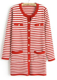 Red White Striped Long Sleeve Pockets Cardigan US$22.79
