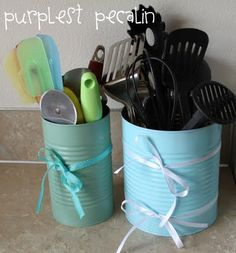 #DIY #kitchen canisters. Take away the ribbon and maybe paint or use letter stickers to jazz them up