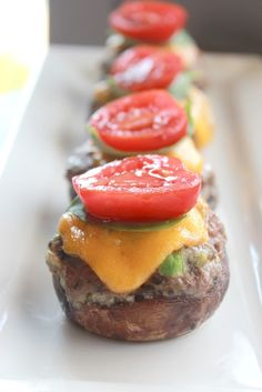 Low Carb Cheeseburger Stuffed Mushrooms...awesome game day food! www.Facebook.com/FoodIMakeMySoldier