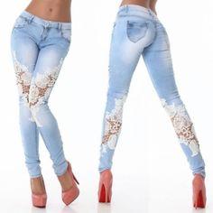 Fashion Women's Slim Skinny Lace Crochet Stretch Denim Jeans Pants Trousers