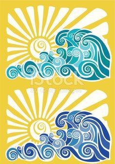 Hawaiian sunset and waves stencil Royalty Free Stock Vector Art Illustration Hawaiian Sunset, Hawaiian Art, Surf Vintage, Wave Stencil, Doodle Drawing, Hawaiian Designs, Hawaiian Pattern, Wave Art, Surf Art