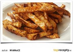Celerové hranolky z trouby recept - TopRecepty.cz Healthy Cooking, Cooking Recipes, Healthy Recipes, Russian Recipes, Lchf, Fries, Bacon, Healthy Living, Food And Drink