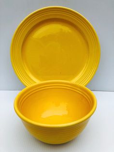 "Excited to share this item from my #etsy shop: Vintage, Bauer Pottery, Yellow Glaze, Ringware Mixing Bowl ( 8.5"" D) and Serving Plate (13"" D), 1940s Set, Los Angeles, Pristine Condition #yellow #bauerpottery #losangelespottery #yellowbauer #ringbauer #collectiblepottery #collectiblebauer #yellowbauerbowl #yellowbauerplate"
