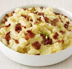 Bacon and Mint Mash recipe made using a mixer: Ingredients:  1 kg Maris Piper, peeled 1 tbsp olive oil 6 rashers rindless smoked streaky bacon, roughly chopped 1 x 142ml carton double cream 25 g butter 1 x small packet fresh mint, chopped freshly ground black pepper mint leaves, to garnish
