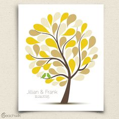 Guest Book Tree - Spotwik Wedding Tree Guest Book - A Peachwik Personalized Print - 50 guest sign in - Confetti Dots Wedding Tree Guestbook on Etsy, $38.00