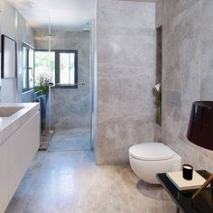 Natural stone is an emotional investment for a client when developing their dream home. Tiny Bathrooms, Rustic Bathrooms, Modern Bathroom, Small Bathroom, Black Bathroom Floor, Bathroom Floor Tiles, Tile Floor, Diy Bathroom Decor, Bathroom Interior
