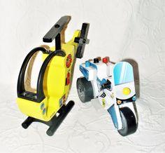 Kidkraft Wooden Replacement Fireman Helicopter & Police Motorcycle Kid Toys VGUC #Kidkraft