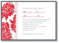 Red and Grey floral Wedding Invitation - customizable
