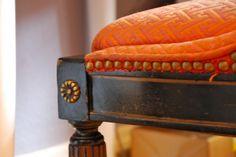 Orange Studded Upholstered Seat Cushion