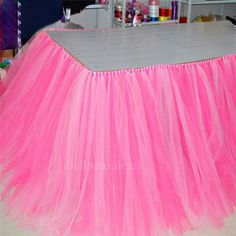 Rose Pink Tulle tutu Fabric Table Skirt cover on www.balloonsale.us