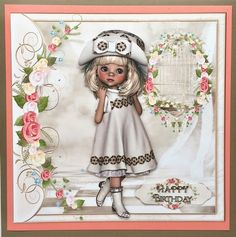 "A beautiful card with an adorable little girl dressed in a coffee & cream vintage style dress & matching hat, surrounded by a pretty frame and flowers.  This could be used for any female occasion from mothers day to birthdays, would be lovely for a little girl.  This mini kit makes an 8"" square card and includes 3 designs sheets, the card front, decoupage, a matching insert and 5 sentiment tags. The greeting on the tags are Happy Birthday, Happy Mothers Day, Happy Birthday Daught..."