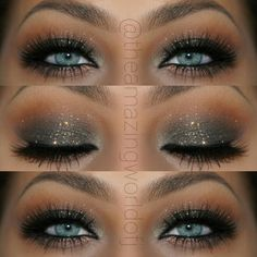 "Elegant Glitter Smokey Eye Makeup That Makes Her Blue Eyes ""POP"" ~ Stunning!! @theamazingworldofj ♡♥♡♥♡♥"